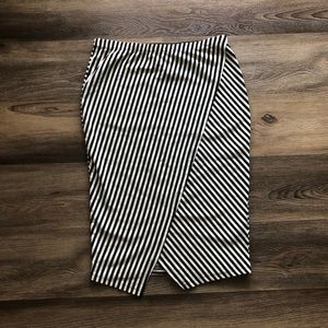 COIN 1804 striped stretch pencil skirt NWOT size L